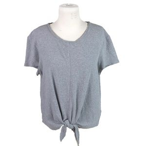 Madewell Gray Large Modern Tie Front Tee Shirt